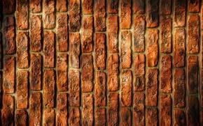 Картинка оранжевый, фон, кирпич, текстура, вертикальный