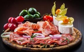 Картинка фото, Овощи, Еда, Натюрморт, Колбаса, Ветчина, Сыры