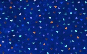 Обои сердечки, синий, фон