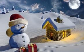 Картинка снеговик, графика, ёлки, подарки, свет, снег, зима, луна, дом