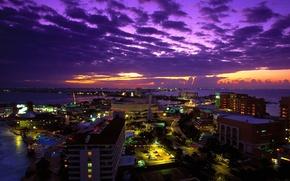 Картинка закат, город, огни, Мексика, ночной, Mexico, Cancun at Twilight, Канкун