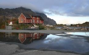Картинка тучи, дом, Норвегия, после дождя, лужи, Лофотен
