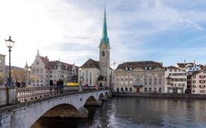 Картинка мост, Швейцария, церковь, Switzerland, Цюрих, Zurich