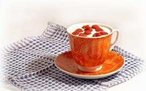 Картинка оранжевый, ягоды, малина, чай, чашка, напиток, салфетка