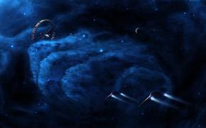Картинка туманности, корабли, звезды, станция, космос