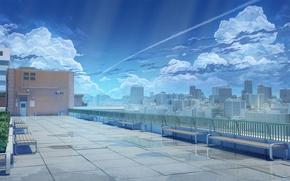 Обои крыша, небо, облака, скамейка, арт, школа, Love Money Rock'n'Roll, Любовь Деньги Рок-н-Ролл