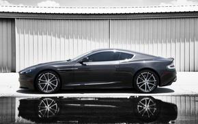 Картинка лужа, отражение, серый, Aston Martin, астон мартин, профиль, дбс, grey, тень, DBS