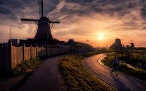 Картинка солнце, улица, мельница, Netherlands