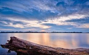 Обои озеро, вода, Иллинойс, небо, облака, закат