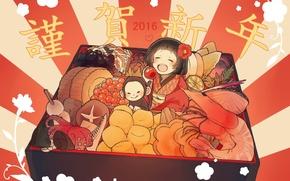 Картинка еда, обезьяна, девочка, Новый год, 2016, коробочка с бенто