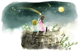 Обои двое, картина, звезда, девочка, мальчик