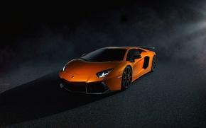 Картинка Lamborghini, Dark, Light, Orange, LP700-4, Aventador, Supercar, Brake, Spoiler