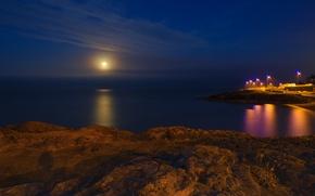 Картинка море, пляж, луна, спокойствие, Ночь, фонари, лунная дорожка