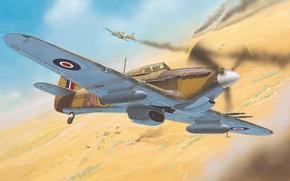 Картинка война, пустыня, рисунок, истребитель, арт, Hawker, Hurricane Mk II