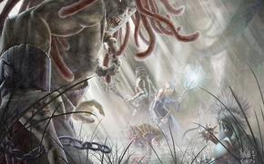 Картинка магия, болото, Монстр, эльфы, пасть, когти, ловушка, чудовище, цепи, демоны