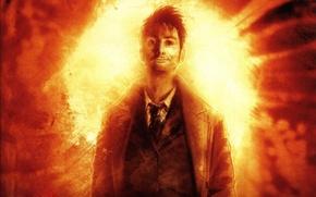 шоу,сериал,кино,доктор кто,doctor who,рисунок,ухмылка,мужчина,огонь,взрыв обои