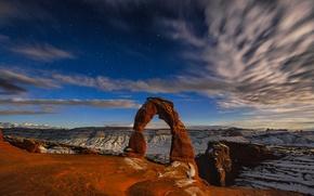 Картинка небо, звезды, горы, скалы, арка, сша, Arches National Park, uta