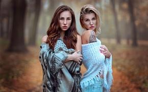 Обои осень, две девушки, Sisters, Katy Sendza