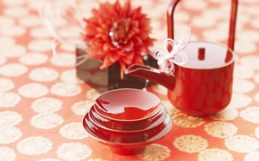 Картинка цветы, красный, чай, настроения, китай, япония, кофе, чашки, чайная церемония