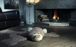 Обои дом, игрушка, кресло, медведь, камин, квартира, плюшевый, особняк, помещение