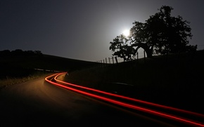 Картинка дорога, небо, деревья, ночь, огни, луна
