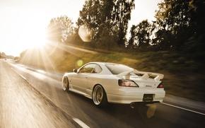 Картинка дорога, солнце, блики, S15, Silvia, Nissan, в движении, ниссан