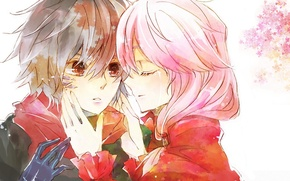Обои fan art, руки, guilty crown, shu ouma, розовые волосы, шарф, inori yuzuriha, слеза, корона грешника