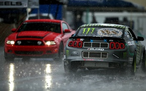 Картинка Ford, mustang, rtr, tuning, monster energy, team, rain, lightsфорд, мустанг, ртр