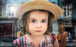 Картинка взгляд, портрет, шляпа, девочка
