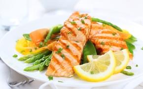 Обои лимон, еда, рыба, фрукты, овощи, food, fish, гарнир