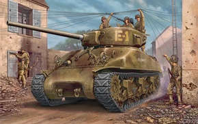 Картинка war, art, painting, tank, ww2, m4a1 Sherman