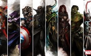 Картинка железный человек, халк, тор, капитан америка, мстители, avengers, черная вдова, соколиный глаз, ник фьюри, локи