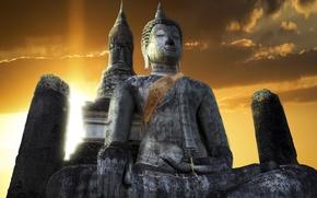 Картинка небо, храм, Тайланд, Thailand, Будда, Sukhothai, Сукхотаи, Buddha