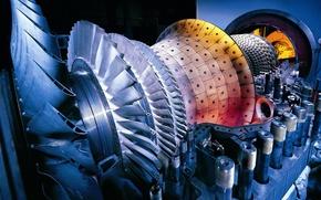 Картинка двигатель, турбина, детали, крыльчатка
