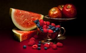 Картинка ягоды, малина, яблоки, арбуз, фрукты, натюрморт, голубика