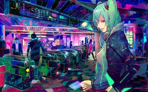 Картинка люди, метро, краски, арт, vocaloid, hatsune miku, вокалоид, people, Metro girl, карточка