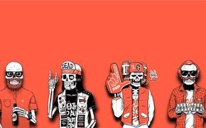 Обои Иллюстратор Sebastien Cuypers, Скелетоны-Модники, Минимализм, Арт