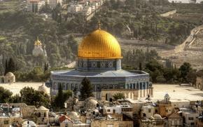 Картинка город, купола, Иерусалим, Израиль, Купол Скалы, Храмовая гора
