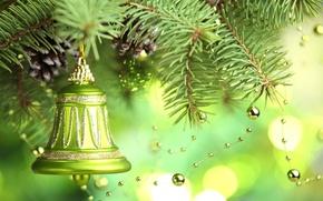 Обои merry christmas, new year, christmas tree , decoration , bell