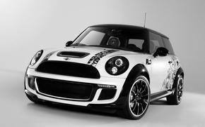 Картинка машина, авто, white, аэрография, диски, black, автомобили, MINI, мини купер, Bully, Cooper S
