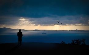 Картинка небо, вода, горы, ночь, стиль, люди, настроение, скалы, романтика, настроения, пейзажи, человек, вид, вечер, парни, …