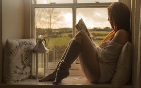 Обои relax, девушка, книга, окно, чтение