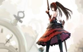 Картинка взгляд, девушка, улыбка, оружие, механизмы, art, гетерохромия, kikivi, date a live, tokisaki kurumi