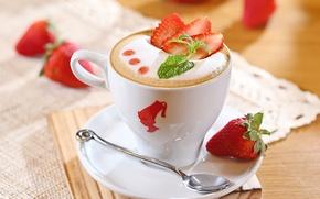 Картинка чашка, молоко, напиток, капучино, кофе, пена, ягоды, блюдце, ложка, клубника