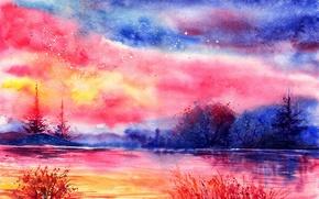 Пейзаж акварель вечер облака река