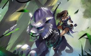 Картинка зелень, лес, кошка, девушка, существо, лучница, Прыжок, арт, зверь, dota, Dota 2, лиана, Mirana, POTM, ...