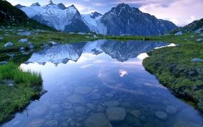 Обои небо, горы, озеро, камни