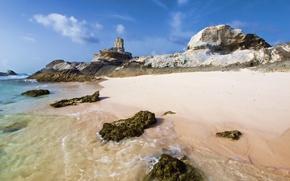 Обои море, водоросли, камни, скалы, берег, облака, песок