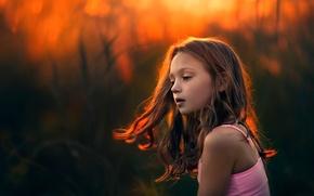 Картинка свет, закат, волосы, девочка, An Evening Of Amber