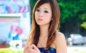 Обои фон, модель, волосы, девушка, губы, Zhang Kaijie, глаза, Mikako, азиатка